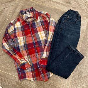 Boys' GAP Jeans Slim & Plaid Button Down 5-6